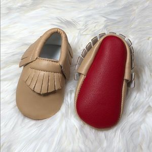 Other - New Tan with Red Soft sole baby moccasins